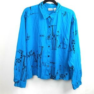 Chico's 100% Linen Giraffe Button Down Shirt
